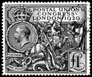 Rare 1929 GB £1 PUC postage stamp
